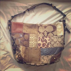 Coach leather patchwork bag